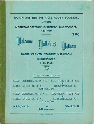 North Eastern Districts v Australia RUGBY PROGRAMME 1 Aug 1961, Burgersdorp