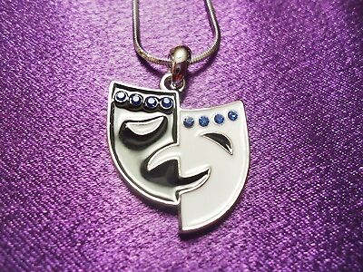 Theater Mask Necklace, Performing Arts Necklace, Black White w/ Royal Blue