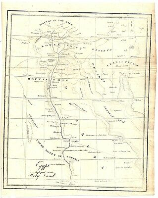 """1851 Bookplate Map of Egypt and Part of the Holy Land 7"""" x 9"""""""