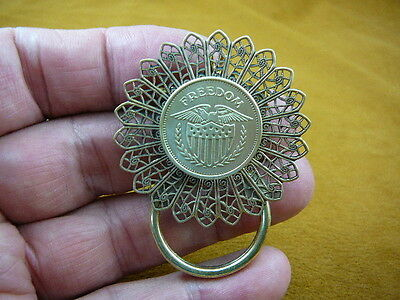 (E-793) Genuine Freedom eagle USA crest coin token Eyeglass pin brooch ID badge