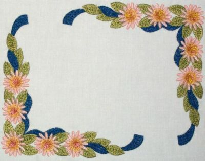 Flower & Ribbon Embroidered Quilt Label Customize for quilt tops or blocks