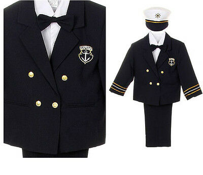 New Infant Boy Toddler Captain Navy Sailor Costume Outfits NB baby to 7 Years