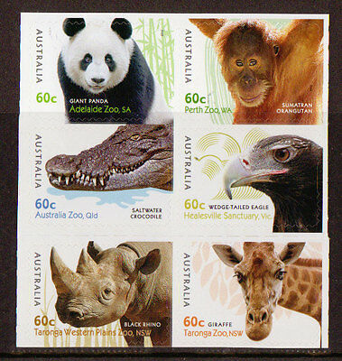 AUSTRALIA 2012 AUSTRALIAN ZOOS SET OF 6 SELF ADHESIVE ex booklet UNMOUNTED MINT
