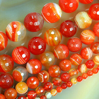 """4mm ~ 14mm Faceted Hyacinth Stripe Banded Agate Round Gemstone Loose Beads 15.5"""""""