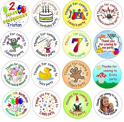 48 custom personalised unisex birthday / party stickers for boys or girls