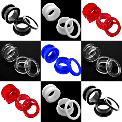 SCREW ON ACRYLIC Flesh Tunnel Ear Plug Easy Fit Stretchers Defenders 5 colours