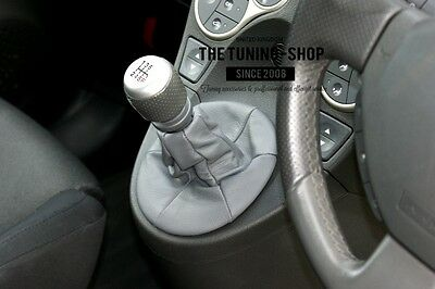 For Fiat Panda 2003-2011 Grey Leather Gear Stick Gaiter Shift Boot New