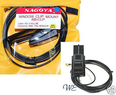 NEW NAGOYA RB-CLP SMA Window Clip Mount w/RG-174/U 3meter for Radio/Antenna