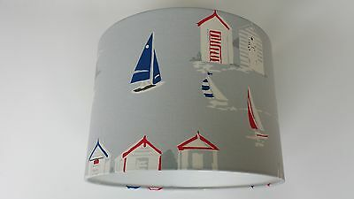 "12""/30cm LAMPSHADE MADE FROM Clarke and Clarke  FABRIC( beach hut grey)"