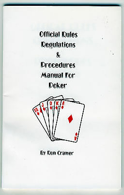 New Official Rules Regulations & Procedures Manual For Poker Book 74 Pages New*