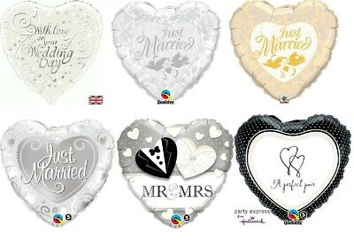 "18"" Heart Shaped Foil Helium Balloon Just Married Wedding Day - Lots of designs"