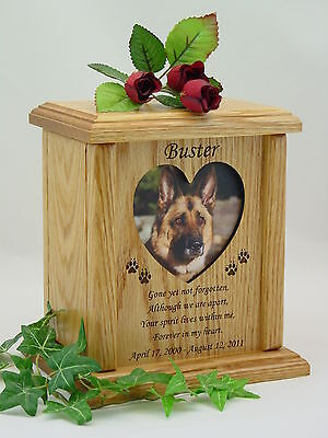 Pet Urns - Dog Urns - Cat Urns - Heart or Oval Photo Urn
