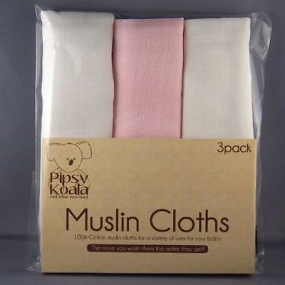 Pipsy Koala Baby Muslin Cloths 100% Cotton - White/Pink Pack of 3