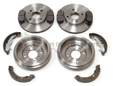Ford Fiesta Mk7 2008-2017 Front 2 Brake Discs And Pads Rear 2 Drums & Shoes Set