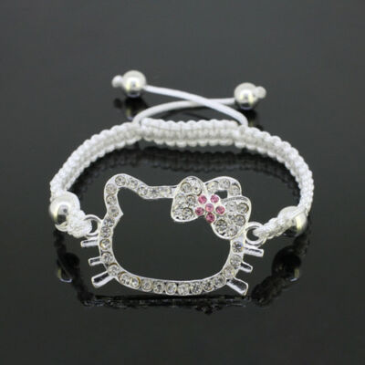 Wholesale Crystal Silver HelloKitty Cat Connector White Macrame Charms Bracelet