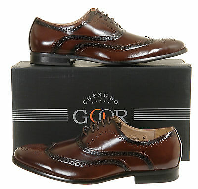 Mens New Brown Leather Lined Lace Up Brogues Antique Style Size 6 7 8 9 10 11 12