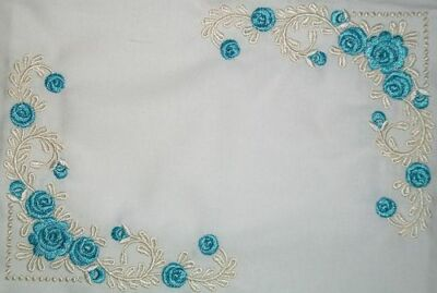 Blue Rose Filigree Embroidered Quilt Label Customize for quilt tops or blocks