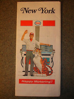 1970 Old Vtg Antique Collectible New York Esso Extra Gas And Oil Map Tiger Man