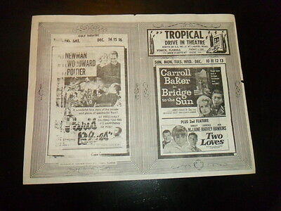 Vintage 1950S Drive In Movie Theater Ad Flyer Paul Newman Sidney Poitier Fl!!!