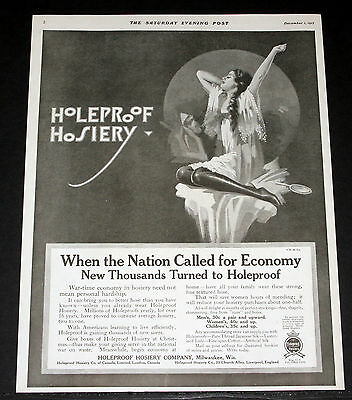 1917 Old Wwi Magazine Print Ad, Holeproof Hosiery, When The Nation Called, Art!