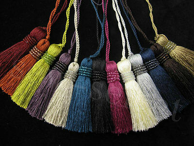Milly key tassel with bead trim - Decorative tassel in 13 cols - Fabric tassel