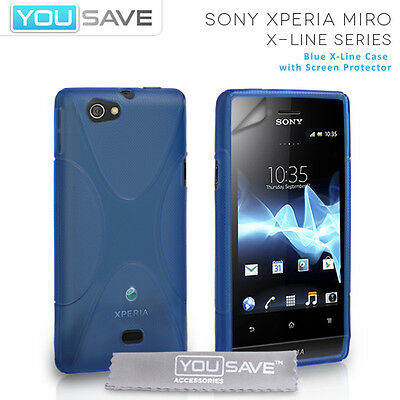 Accessories For The Sony Xperia Miro ST23i Blue Silicone X-Line Gel Case Cover