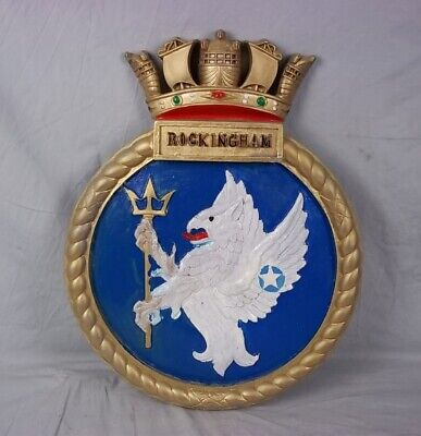 "HMS Rockingham G58 Ships Badge Clemson Class Destroyer 18""x14"" One Off Casting"