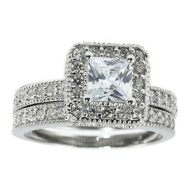 5mm Princess Cut AAA CZ in Micro Pave Halo Sterling Wedding Engagement Ring Set