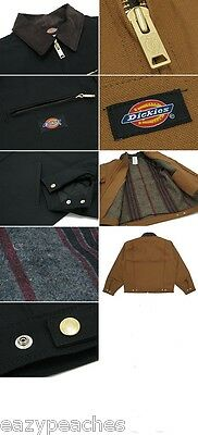 Dickies Men's S-2XL 3XL 4XL Blanket Lined Duck Work Chore Coat Jacket Brown