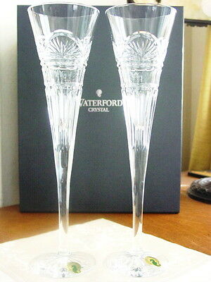 Waterford JIM O'LEARY LISMORE CELEBRATION ChampagneToasting Flutes - NEW / BOX!