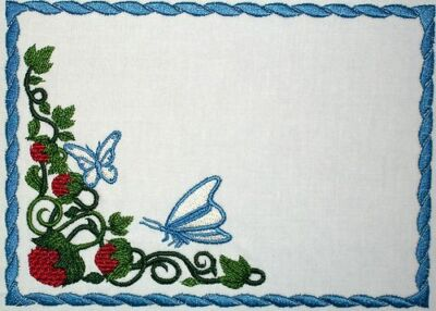 Butterfly & Raspberry Embroidered Quilt Label Customize for quilt tops or blocks
