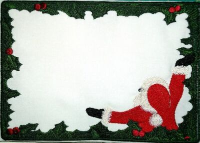 Santa and Holly Embroidered Quilt Label Customize for quilt tops or blocks