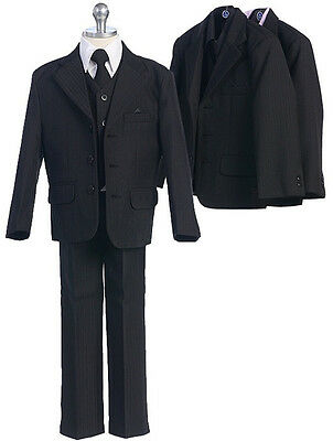 Black Pinstripe Boys Formal Suit Jacket Pin Stripe Tuxedo (5 piece): Sz 0-14*15*