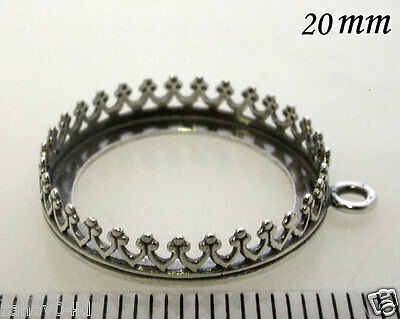 2pcs Bezel Cup 20mm Quality Cast Antique Sterling Silver 925 For Setting (8393)