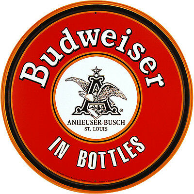 Budweiser In Bottles Round Metal Bar Sign - Home Bar Pub Beer Display Decoration