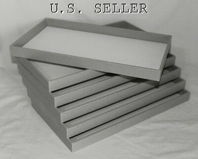 Wholesale Lot Of 6 Large Wood Jewelry Trays Gray