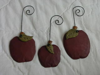 Red APPLE Ornaments ~ Carved Look ~ unique Teacher gift