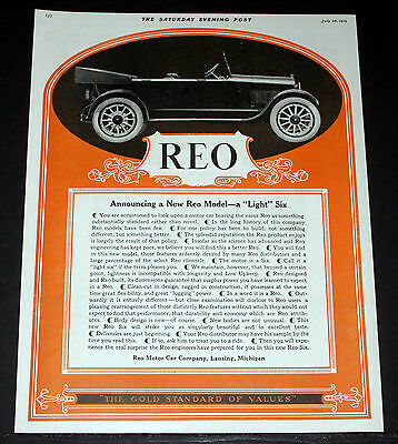"""1919 Old Magazine Print Ad, New Reo """"light"""" Six, """"the Gold Standard Of Values""""!"""