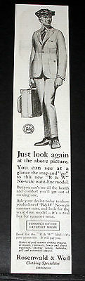 1919 Old Magazine Print Ad, Rosenwald Weil, No-Wate Summer Suits, Fashion Art!