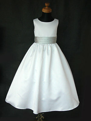 FREE PST White Silver Sash A-LINE Flower girl Wedding Communion Bridesmaid Dress