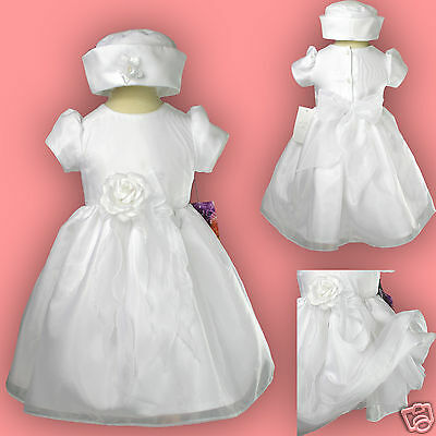 New Baby toddler Girl Pageant Baptism Christfening Formal White dress size 0-36M