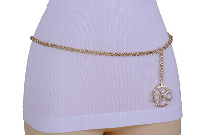 Women Vintage Antique Silver Metal Flower Charm Brown Beads Tie Belt Plus M L XL