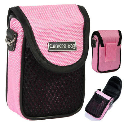 Compact Digital Camera Case Universal Soft Bag Pouch + Strap Pink