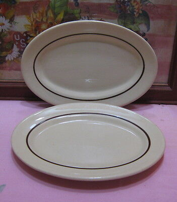 2 Vintage Iroquois China Restaurant Ware Tan Brown Band Small Serving Platters
