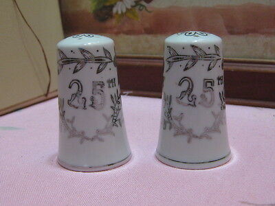 Vintage Lefton China 25th Silver Anniversary Salt & Pepper Shakers Japan 1957