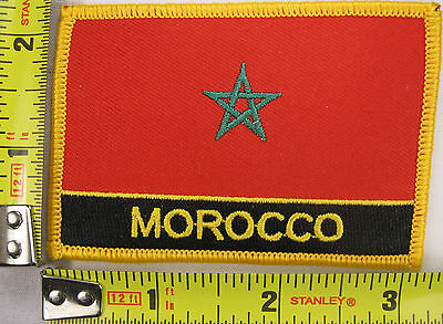 Morocco Flag Patch Moroccan iron-on sew-on embroidered stitching new