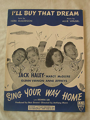 """Vintage Sheet Music  """"I'll Buy That Dream"""" from the movie, """"Sing Your Way Home"""""""