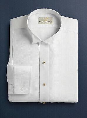 Mens White Formal Tails Tuxedo Shirt PIQUE WING TIP New ALL SIZES Fast Ship!