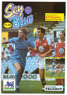 Coventry City V Queens Park Rangers 1992 Programme Orig Hand Signed X 25 Sigs