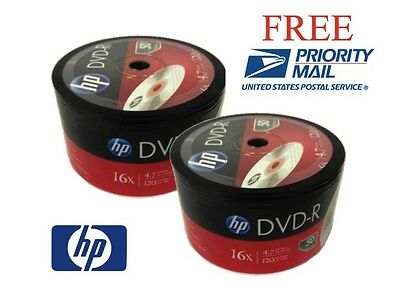 100-Pk 16X HP Logo Blank DVD-R Disc FREE PRIORITY MAIL SHIPPING! NO MEDIA MAIL!